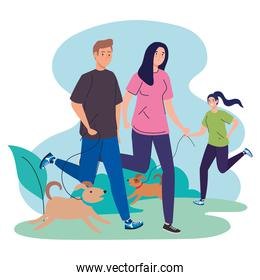 people running with dogs vector design
