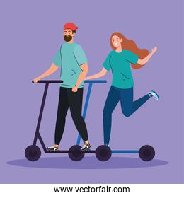 man and woman on scotter vector design