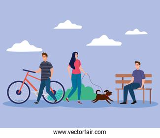 woman with dog and men at park vector design