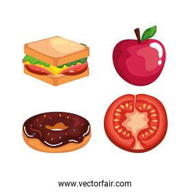 fast food icon collection vector design