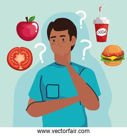 man thinking with question marks about fast food vector design