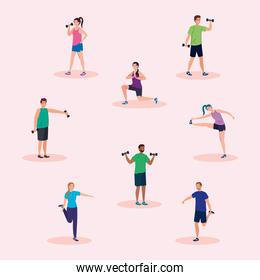 people lifting weight and stretching vector design