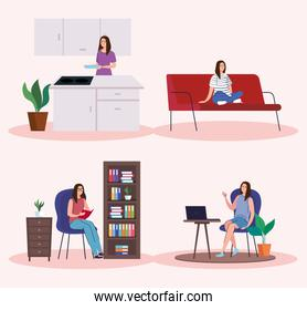 Women doing activities from home icon collection vector design