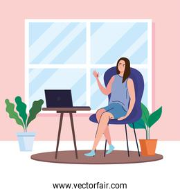 woman with laptop at desk working from home vector design