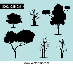 bundle of six trees forest silhouette style icons and lettering