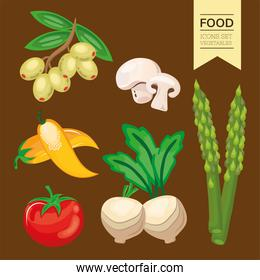 bundle of six vegetables set icons and lettering