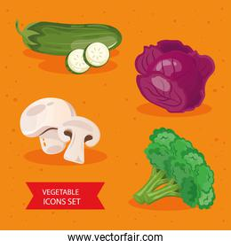 bundle of four vegetables set icons
