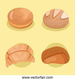 four of breads delicious pastry products icons