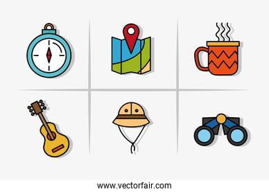 bundle of six camping set line and fill icons