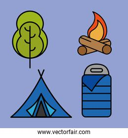 bundle of four camping set line and fill icons in yellow background