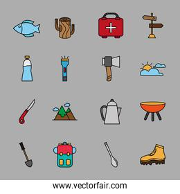 bundle of sixteen camping set line and fill icons