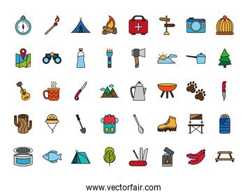 bundle of fourty camping set line and fill icons