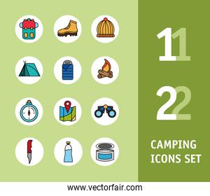 bundle of twelve camping set line and fill icons and lettering