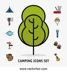 bundle of eleven camping set line and fill icons and lettering