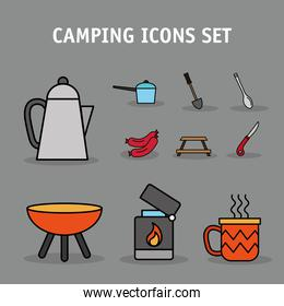 bundle of ten camping set line and fill icons and lettering