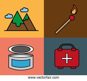 bundle of four camping set line and fill icons