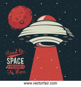 road to space lettering with ufo flying in poster vintage style