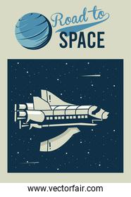 road to space lettering with spaceship in poster vintage style