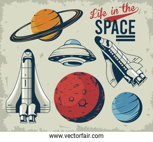 life in the space lettering with set icons in poster vintage style