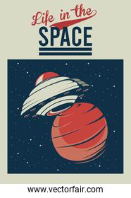 life in the space lettering with ufo in mars poster vintage style
