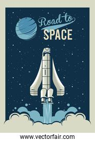 road to space lettering with spaceship startup in poster vintage style