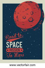 road to space lettering with mars in poster vintage style