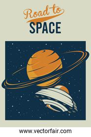 road to space lettering with ufo and saturn in poster vintage style