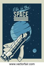 life in the space lettering with spaceship and venus planet in poster vintage style