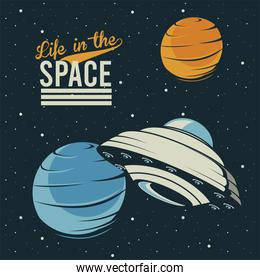 life in the space lettering with ufo and venus in poster vintage style
