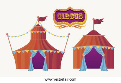 circus tents and banner entertainment icon