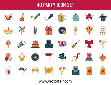bundle of party set fourty  icons