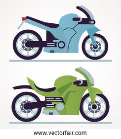 blue and green race motorcycles style vehicles icons