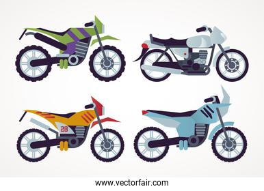 bundle of motorcycles style vehicles icons