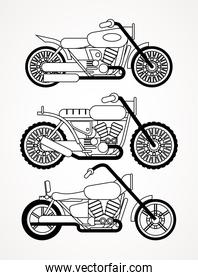set of choppers motorcycles style vehicles icons