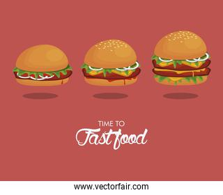 hamburgers sizes delicious fast food icons