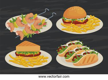 menu of delicious fast food icons