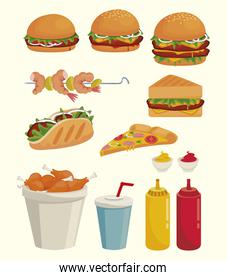 bundle of delicious fast food icons