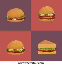 bundle of hamburgers and sandwich delicious fast food icons