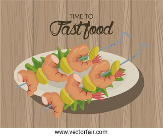 shrimp skewers in dish delicious fast food icon