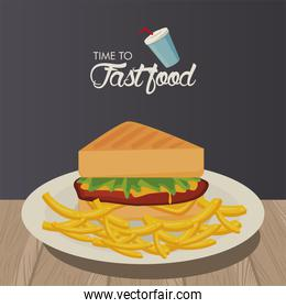 sandwiche and french fries delicious fast food icon