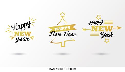 happy new year lettering card with three letterings