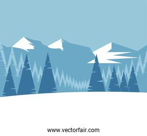 beauty blue winter landscape scene with mountains and trees