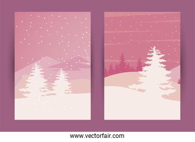 beauty two pink winter landscapes scenes