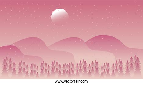 beauty pink winter landscape with forest and mountains scene