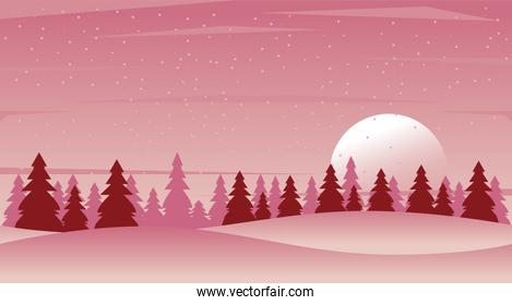beauty pink winter landscape with forest scene