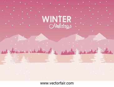beauty pink winter landscape with mountains and trees pines