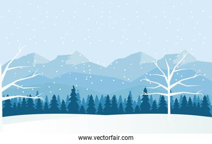 beauty blue winter landscape with trees and mountains scene