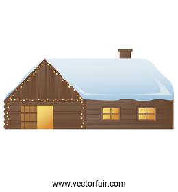 wooden house with snow in roof