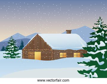 beautiful house and pines trees winter landscape scene