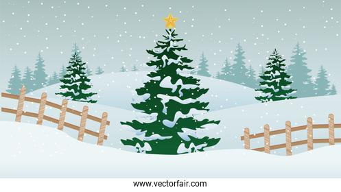 beautiful winter landscape scene with christmas tree and fence